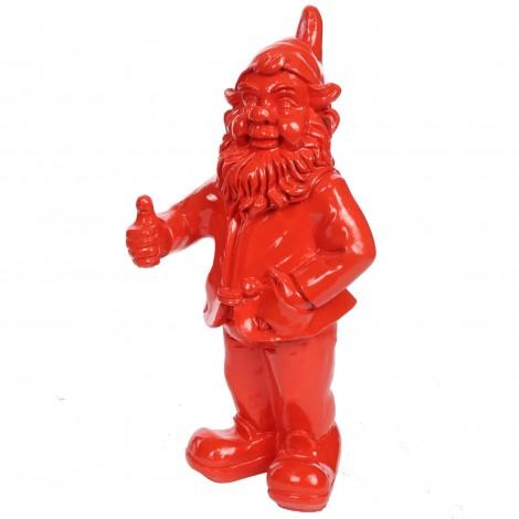 Statue en résine rouge nain de jardin pouce levé 50 cm