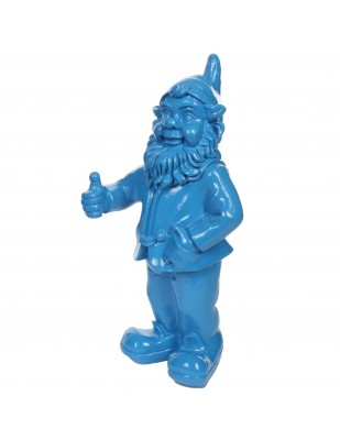 Nain de jardin en résine bleu modèle au pouce levé 50 cm