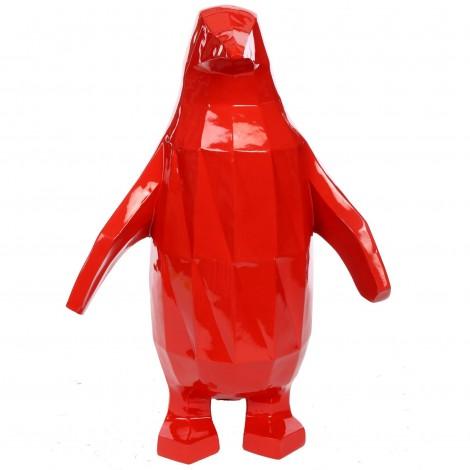 Statue origami en résine pingouin rouge 60 cm