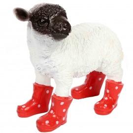 Statue en résine d'un mouton tête noire en bottes rouge 30 cm