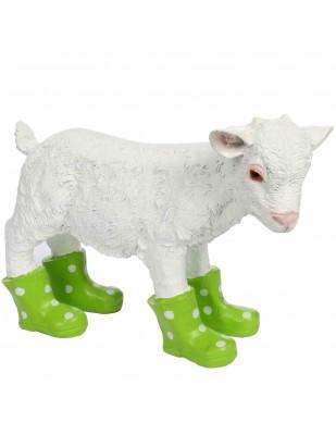 Statue en résine d'un agneau mouton en bottes verte 40 cm