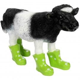 Statue en résine d'une vache en bottes verte 40 cm