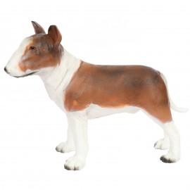 Statue en résine bull terrier couleurs naturel - 80 cm