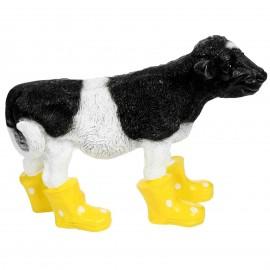 Statue en résine d'une vache veau en bottes jaune 40 cm