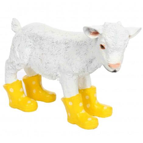 Statue en résine d'un agneau mouton en bottes jaune 40 cm