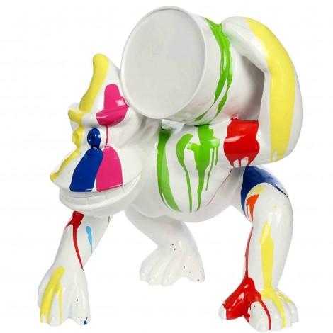 Statue en résine multicolore fond blanc Donkey Kong gorille singe au tonneau 60 cm