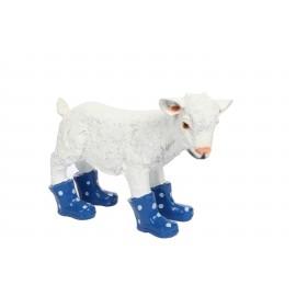 Statue en résine d'un agneau mouton en bottes bleu 40 cm