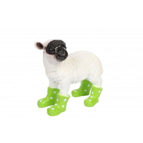 Statue en résine d'un mouton tête noire en bottes verte 30 cm