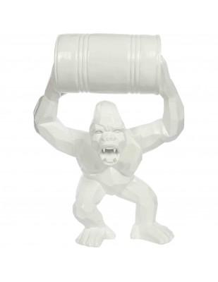Gorille singe  tonneau agressif statue blanche en origami 67 cm