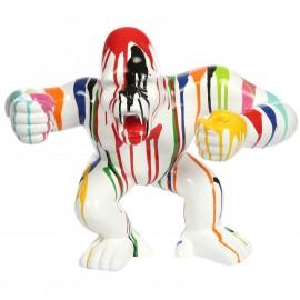Statue en résine gorille singe debout multicolore fond blanc 57 cm