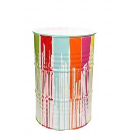 Table haute mange debout en fer multicolore fond blanc style baril tonneau 89 cm