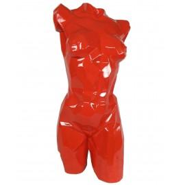 Buste de femme origami en résine laqué rouge - 85 cm