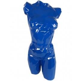 Buste de femme en origami résine laquée bleu - 85 cm