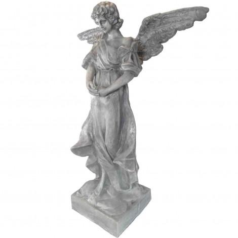 Statue ange aillé en résine patine béton 115 cm