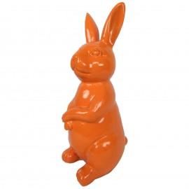 Statue en résine Lapin assis couleur orange hauteur - 30 cm