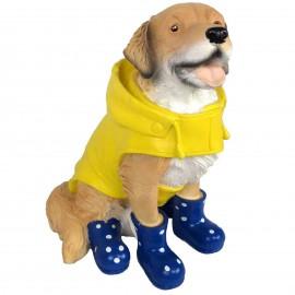 Statue en résine chien labrador en habits de pluie et bottes bleu - 50 cm