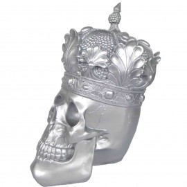 Statue en résine tête de mort argent avec couronne  - 35 cm