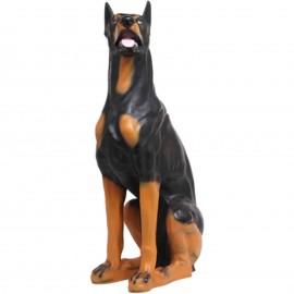 Statue en résine chien doberman assis - 90 cm