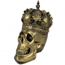 Statue en résine tête de mort dorée antique avec couronne  - 35 cm