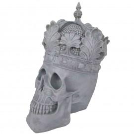 Statue en résine tête de mort couleur béton avec couronne  - 35 cm