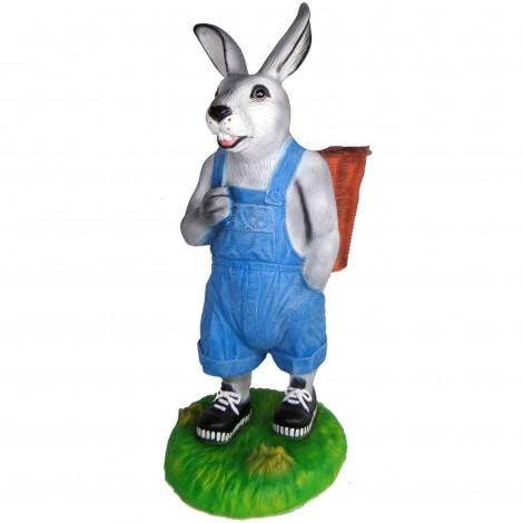 Jardinière en résine statue lapin debout salopette bleu 110 cm