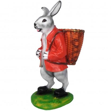 Jardinière en résine statue lapin debout veste rouge 75 cm