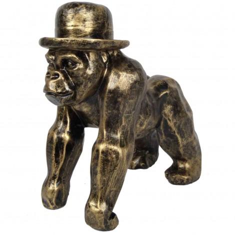 Statue en résine singe gorille en origami doré antique - 25 cm