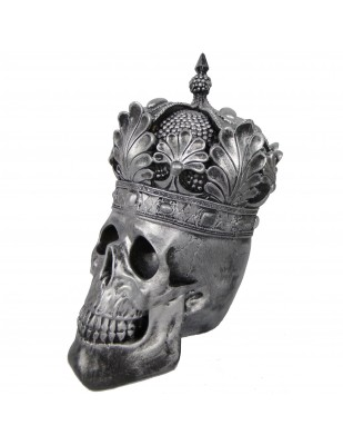 Statue en résine tête de mort couleur acier avec couronne  - 35 cm