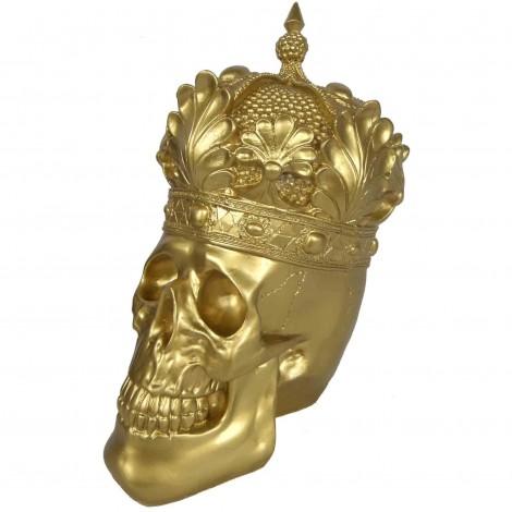 Statue en résine tête de mort couleur dorée avec couronne - 35 cm