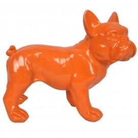 Statue chien bouledogue Français orange en résine - Pablo - 27 cm