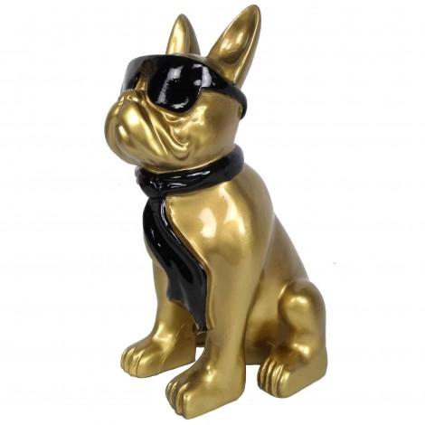 Statue chien bouledogue Français doré à lunette en résine 37 cm