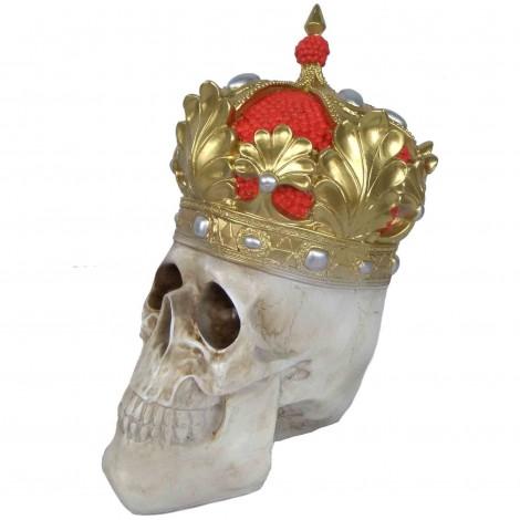 Statue en résine tête de mort multicolore avec couronne - 35 cm