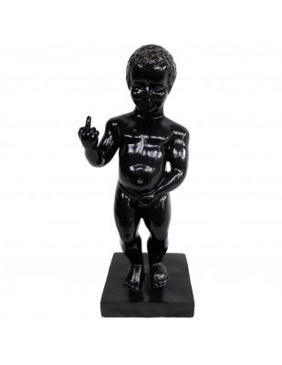 Statue en résine Manneken-Pis noir doigt d'honneur 35 cm