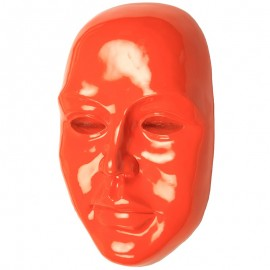 Statue visage de femme murale orange 3D - 41 cm