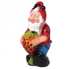 Statue en résine nain de jardin et la grosse fraise 44 cm