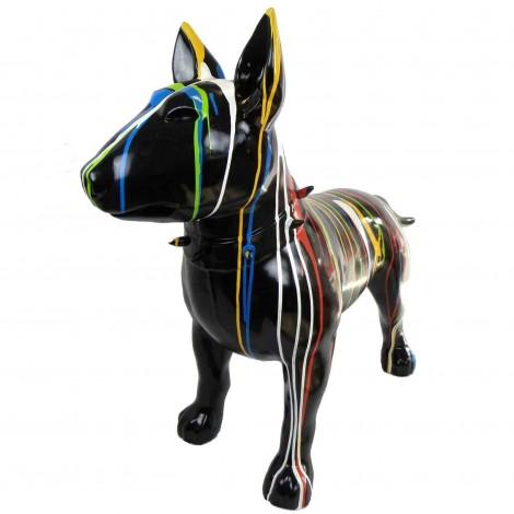 Statue chien bull terrier multicolore fond noir en résine - 110 cm