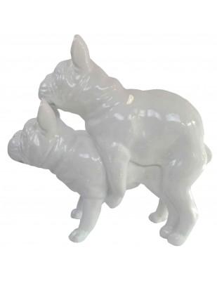Statues chiens en résine couple de bouledogue Français blanc - 55 cm