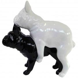 Statues chiens en résine couple de bouledogue Français noir et blanc - 55 cm