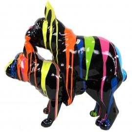 Statues chiens en résine couple de bouledogue Français fond noir - 55 cm