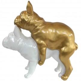 Statues chiens en résine couple de bouledogue Français blanc et doré - 55 cm