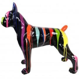 Statue chien boxer multicolore fond noir en résine - 105 cm