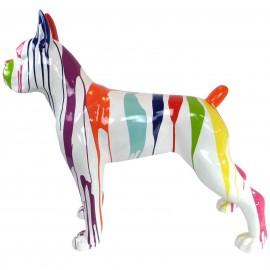 Statue chien boxer multicolore fond blanc en résine - 105 cm