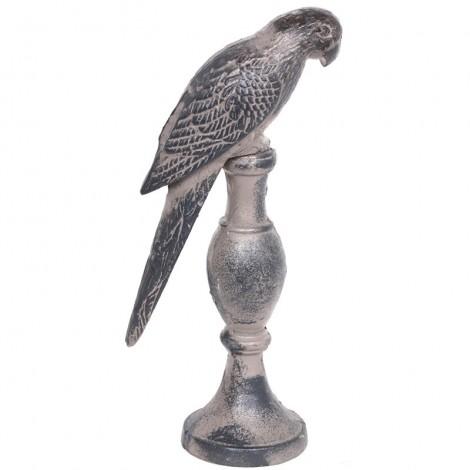 Statue perruche en fonte grise - 30 cm