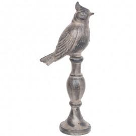 Statue oiseau avec houppette en fonte grise - 36 cm