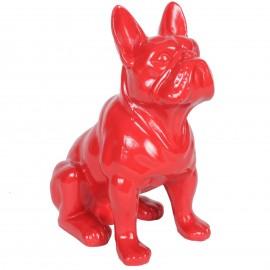Statue en résine chien bouledogue Français rouge assis Luc - 31 cm