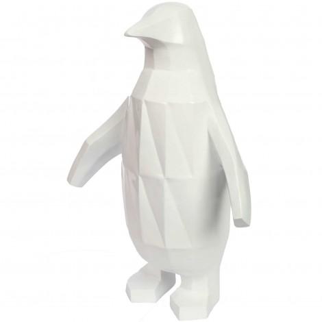 Statue origami en résine pingouin blanc 60 cm
