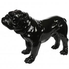 Statue en résine noire chien bouledogue anglais 60 cm
