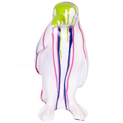 Statue en résine pingouin multicolore fond blanc - 40 cm