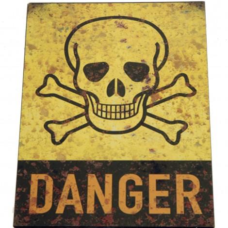 PLAQUE tôle danger en fer - 25 cm