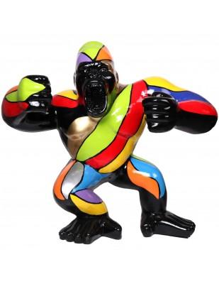 Statue en résine Donkey Kong gorille singe debout multicolore  (Omar) - 120 cm